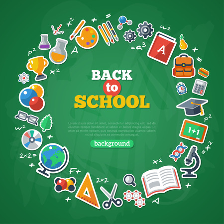 Back to School Frame. Vector Illustration. Flat School Icons on Chalkboard Textured Backdrop. Education Concept. Arts and Science Stickers Vettoriali