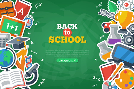 teaching children: Back To School Banner With Flat Icon Set on Chalkboard Textured Backdrop. Vector Flat Illustration. Arts and Science Stickers. Education Concept.