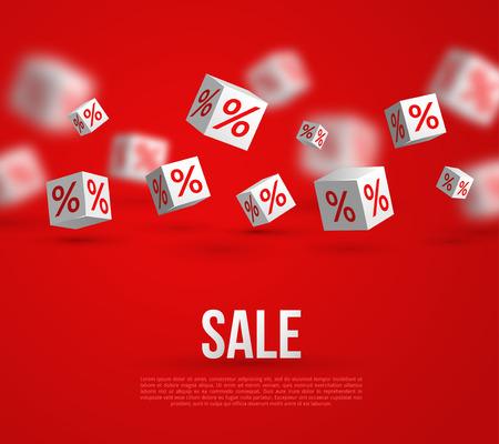 Sale Poster. Vector Illustratie. Design Template voor Holiday Sale Event. 3d Witte kubussen met procenten op rode achtergrond. Original Feestelijke Achtergrond. Stock Illustratie