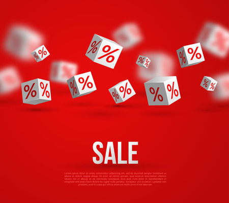 Sale Poster. Vector Illustration. Design Template for Holiday Sale Event. 3d White Cubes with Percents on Red Background. Original Festive Backdrop.