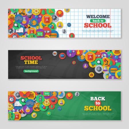 education: 돌아 가기 원에 플랫 아이콘 학교 배너 설정합니다. 벡터 평면 그림. 예술과 과학 스티커. 교육 개념.
