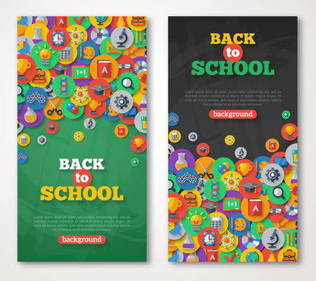 green banner: Back To School Banner Set With Flat Icons on Circles. Vector Flat Illustration. Arts and Science Stickers. Education Concept.