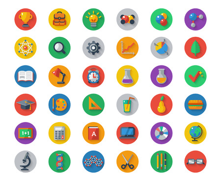 Flat School Icons on Circles with Shadow. Vector Collection. High School Object and College Education Items with Teaching and Learning Symbols. Studying and Educational Elements. Back to School. Иллюстрация