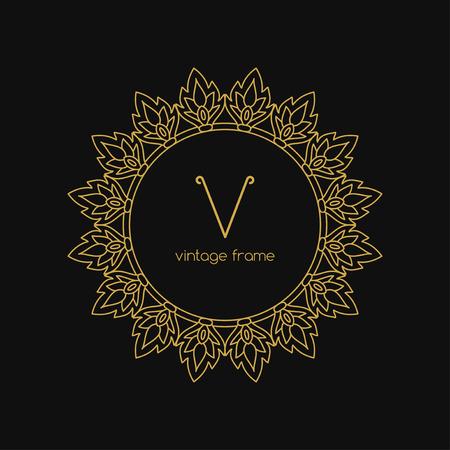 art vector: Vintage Frame. Vector illustration. Geometric Line Design Style for Hipster Art. Art Deco Monogram and Emblem Elements. Copy Space for Text.