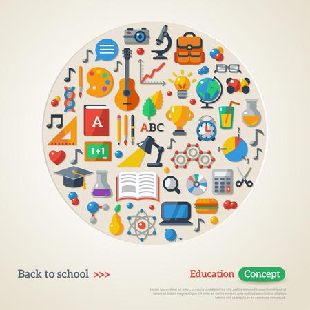 学校の背景に戻るベクトルの図。教育コンセプトです。フラット アイコン セット。指導と学習のシンボル高校オブジェクトの概念。