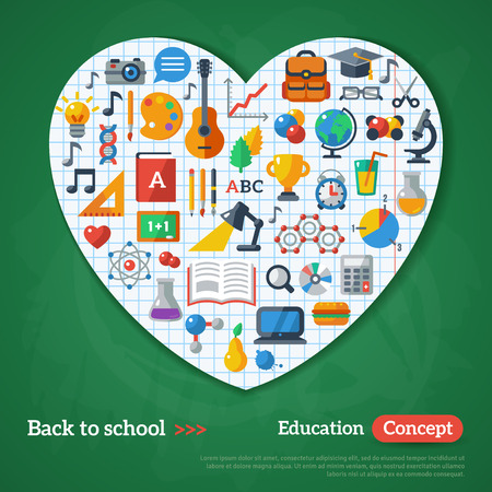 school frame: Back to School Frame. Vector Illustration. Flat School Icons on Chalkboard Textured Backdrop with Paper Heart. Education Concept. Arts and Science Sticker.
