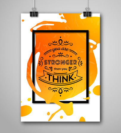 motivational: Motivational Poster Square Frame with Paint Splash. Text Lettering, Inspirational Saying about Strength. Quote Typographical Poster Template, Vector Design