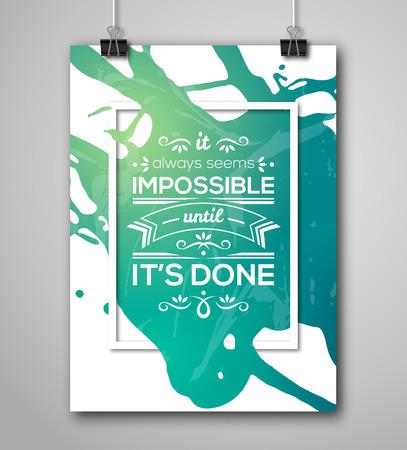 スプラッシュ ペイントと動機付けのポスター スクエア フレーム。テキスト文字、強度について言っている心に強く訴える。引用表記ポスター テン  イラスト・ベクター素材