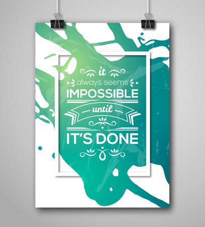 inspiracion: Cartel de motivaci�n Marco cuadrado con Splash Paint. Las letras del texto, refr�n inspirado sobre la fuerza. Cita Plantilla del cartel tipogr�fico, dise�o vectorial