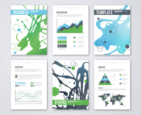 Set of Vector Poster Templates with Blue Green Watercolor Paint Splash. Abstract Background for Business Documents, Flyers and Placards. Infographics elements in flat business style. Illustration