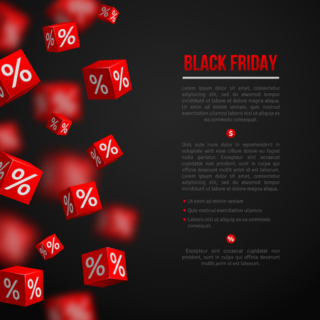 black block: Black Friday Sale Poster. Vector Illustration. Design Template for Holiday Sale Event. 3d   Cubes with Percents. Original Festive Backdrop.