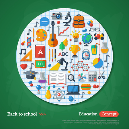 analytical chemistry: Back to School Frame. Vector Illustration. Flat School Icons on Chalkboard Textured Backdrop with Paper Circle. Education Concept. Arts and Science Sticker.