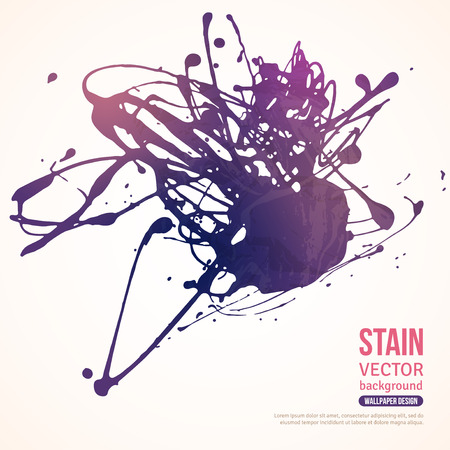 Splatter Paint Banner. Vector Illustration. Violet Painted Background with Acrylic Paint Splash. Ink Spot isolated on white. Abstract Banner Paints.