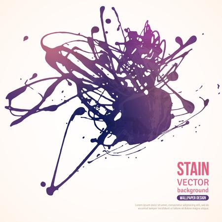 encre: Splatter Peinture Banner. Vector Illustration. Violet fond peinte à l'acrylique Paint Splash. Ink Spot isolé sur blanc. Abstract banner peintures. Illustration