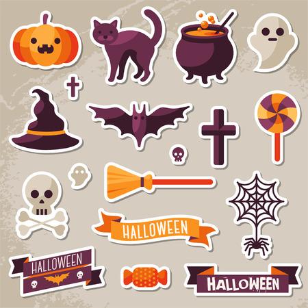 brujas caricatura: Conjunto de cintas de Halloween y Personajes pegatinas. Elementos del libro de recuerdos. Ilustración del vector. Textura de fondo. Sombrero de la bruja, Sweet Candy, Araña y Web, Cráneo