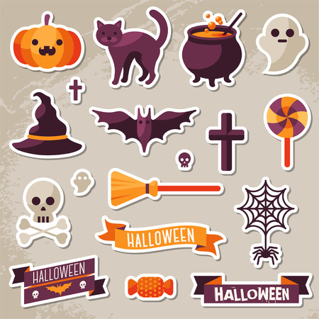Set of Halloween Ribbons and Characters Stickers. Scrapbook elements. Vector illustration. Textured background. Witch Hat, Sweet Candy, Spider and Web, Skull