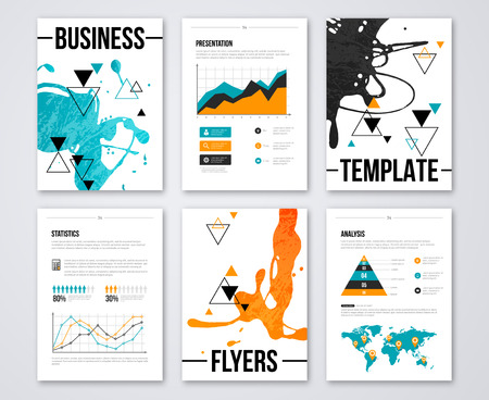 demographics: Modern business brochures and infographic vector elements. Illustrations of modern info graphics. For website, flyer, corporate report, presentation, advertising, marketing. Paint Splash Cover Design
