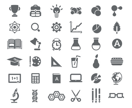 Flat School Icons Vector Collection. High School Object and College Education Items with Teaching and Learning Symbols. Studying and Educational Elements. Back to School. Vectores