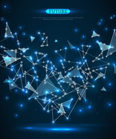 点と線を接続すると抽象的な多角形空間青い背景。ベクトルの図。未来技術のワイヤ フレームのメッシュ。幾何学的なモダンな技術コンセプト。デ
