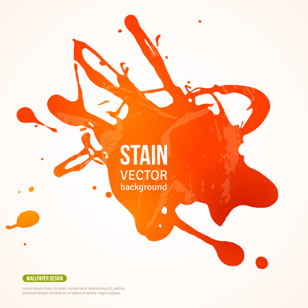 spilled paint: Splatter Paint Banner. Vector Illustration. Orange Painted Background with Acrylic Paint Splash. Ink Spot isolated on white. Abstract Banner Paints. Background for card, poster, identity design