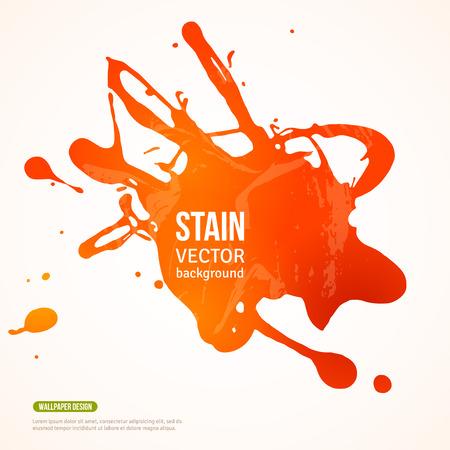 Splatter Peinture Banner. Vector Illustration. Fond orange peinte à l'acrylique Paint Splash. Ink Spot isolé sur blanc. Résumé Bannière peintures. Contexte de la carte, l'affiche, la conception de l'identité