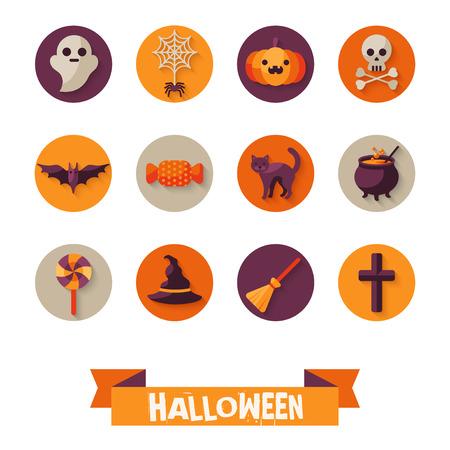 bruja: Conjunto de caracteres de Halloween en círculos con una larga sombra. Elementos del libro de recuerdos. Ilustración del vector. Gato Negro, Sweet Candy, Araña y Web, naranja calabaza, sombrero de la bruja y escoba. Vectores