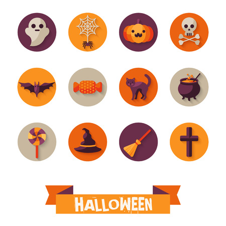 witch: Set of Halloween Characters on Circles with Long Shadow. Scrapbook elements. Vector illustration. Black Cat, Sweet Candy, Spider and Web, Orange Pumpkin, Witch Hat and Broom. Illustration