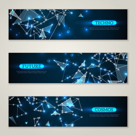 medical technology: Banners set with wireframe mesh polygonal elements. Connected lines and dots. Connection Structure. Geometric Modern Technology Concept. Abstract molecules design. Medical background Illustration