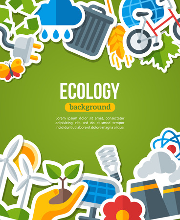 groene energie: Ecology Background with Environment and Green Energy Flat Icons. Vector Illustration. Environmental Protection Banner. Nature and Pollution. Go Green. Save the Planet.