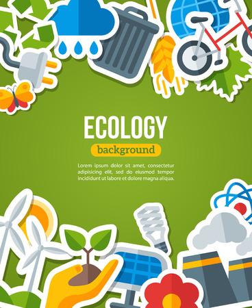 erde: Ökologie Hintergrund mit Umwelt und grüne Energie-Wohnung Icons. Vektor-Illustration. Umweltschutz Banner. Natur und Umweltverschmutzung. Go Green. Rette den Planeten.