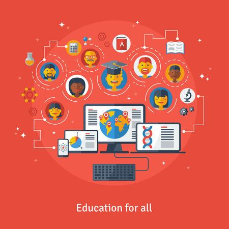 corsi di formazione: Illustrazione vettoriale concetto di istruzione e di apprendimento online. Corsi di formazione online, formazione a distanza, e-learning. Concetto con il computer portatile, computer, telefono, cappello laurea, gli studenti icone piane.
