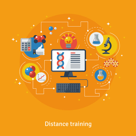 Concept for Distance Education, Online Learning. Vector illustration. Online training courses, distance training, e-learning. Flat icons of chemistry, microscope, pc, idea sign with connection lines