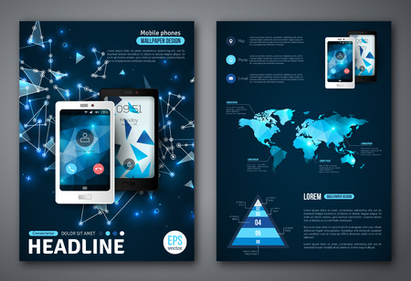 Set of Vector Poster Templates with Wireframe Elements. Abstract Background for Business Documents, Flyers and Placards. Mobile Technologies, Applications and Online Services Infographic Concept. Çizim