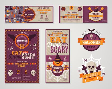 citrouille halloween: Set Of Halloween heureux cartes de v?ux ou des Flyers. Vector Illustration. Invitation de partie de conception avec l'embl�me. Mod�le typographique. Halloween Menu Conception de la couverture. Manger, boire et �tre effrayant.