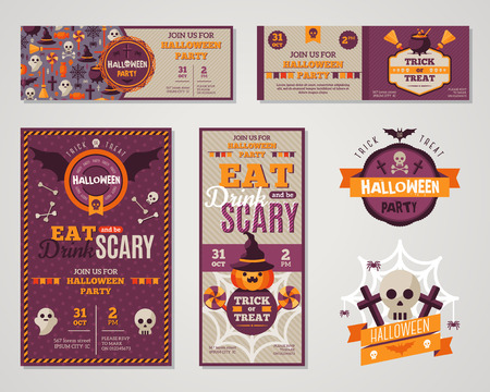 halloween symbol: Set Of Happy Halloween Greeting Cards or Flyers. Vector Illustration. Party Invitation Design with Emblem. Typographic Template. Halloween Menu Cover Design. Eat, Drink and be Scary.