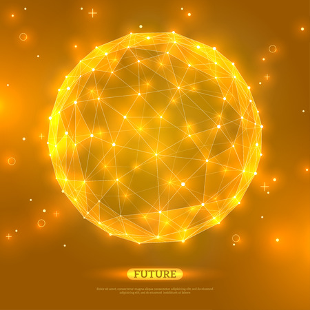 yellow: Abstract vector sphere. Futuristic technology wireframe mesh polygonal element. Connection Structure. Geometric Modern Technology Concept. Digital Data Visualization. Social Network Graphic Concept