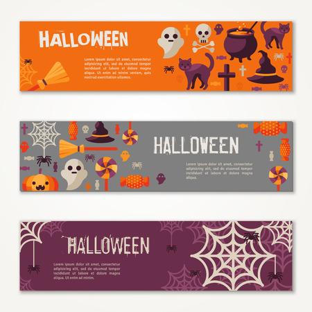 citrouille halloween: Halloween Bannières horizontales ou des dépliants. Vector Illustration. Invitation de fête d'Halloween avec des icônes plates. Placez votre message texte. Baneers Set avec chapeau de sorcière, Spider Web et potiron.