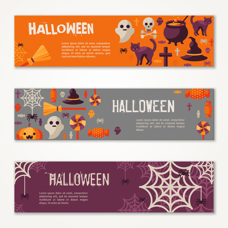 Halloween Horizontal Banners or Flyers. Vector Illustration. Halloween Party Invitation with Flat Icons. Place for Your Text Message. Baneers Set with Witch Hat, Spider Web and Pumpkin. Vettoriali
