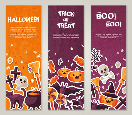 spider web: Vertical Banners Set with Halloween Symbols. Vector Illustration. Orange Pumpkin and Spider Web, Witch Hat and Cauldron, Skull and Crossbones.