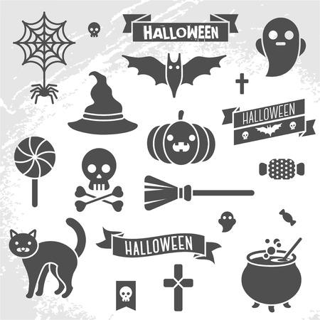 brujas caricatura: Conjunto de cintas y personajes de Halloween. Elementos del libro de recuerdos. Ilustración del vector. Textura de fondo.