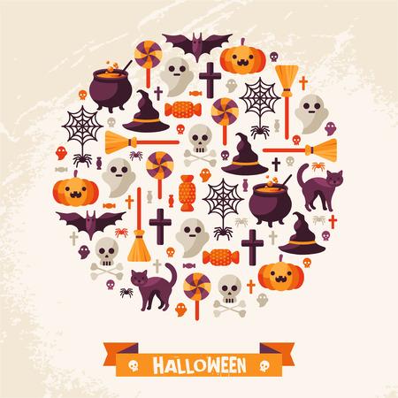 calabazas de halloween: Concepto de Halloween. Iconos planos Organizar en el Círculo. Ilustración del vector. Símbolos de Halloween. Tarjeta de Halloween feliz con la cinta.