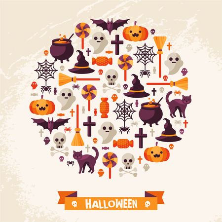 spider: Halloween Concept. Flat Icons Arrange in the Circle. Vector Illustration. Halloween Symbols. Happy Halloween card with Ribbon.