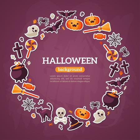 calabaza caricatura: Concepto de Halloween. Iconos planos Organizar en el marco del c�rculo. Ilustraci�n del vector. S�mbolos de Halloween. Fondo Violeta textura.