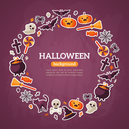 spider: Halloween Concept. Flat Icons Arrange in the Circle Frame. Vector Illustration. Halloween Symbols. Violet Textured Background.