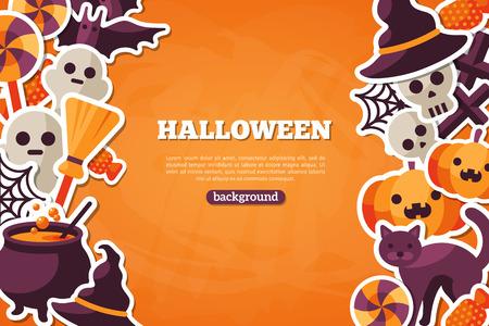 caramelos: Banner Concepto de Halloween con Flat Icon Set en naranja textura tel�n de fondo. Vector Ilustraci�n plana. Signos y s�mbolos de Halloween. Truco o trato.