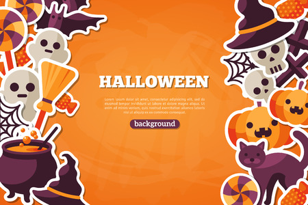 candies: Halloween Concept Banner With Flat Icon Set on Orange Textured Backdrop. Vector Flat Illustration. Halloween Signs and Symbols. Trick or Treat.