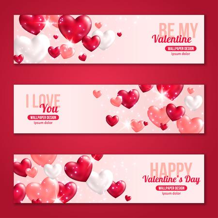 saint valentin coeur: Saint Valentin horizontales Banners Set avec des coeurs pour la conception de vacances. Vector Illustration. Voler coeurs brillants. Lumi�res et Sparkles. Je vous aime, Bonne Saint-Valentin, Be My Valentine Concept.