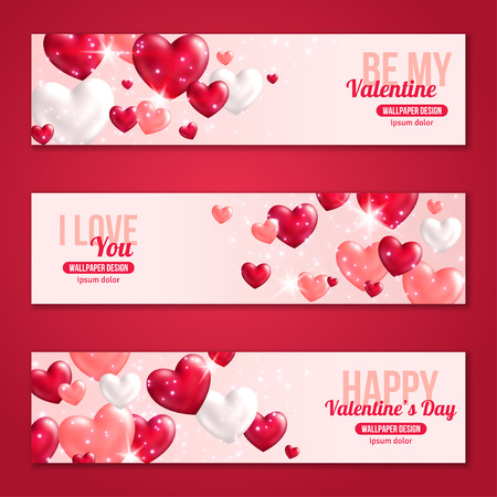 valentines: Valentines Day Horizontal Banners Set with Hearts for Holiday Design. Vector Illustration. Flying Shining Hearts. Lights and Sparkles. I love You, Happy Valentines Day, Be My Valentine Concept.
