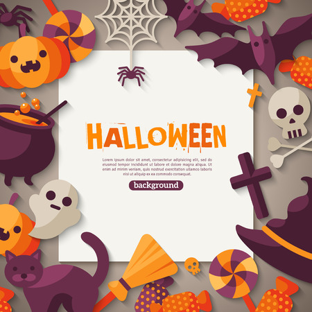Halloween Background. Vector Illustration. Flat Halloween Icons with Square Frame. Trick or Treat Concept. Orange Pumpkin and Spider Web, Witch Hat and Cauldron, Skull and Crossbones. Ilustração