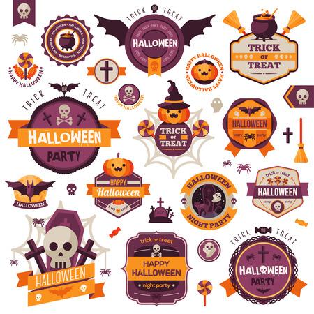 празднование: Набор винтажных Happy Halloween Значки и этикетки. Хэллоуин Форум набор. Ленты, плоские иконки и прочие элементы. Векторная иллюстрация. Симпатичные персонажи Хэллоуин.